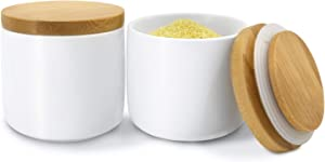 Newness Ceramic Food Storage Jar, (Set of 2) Airtight Food Canister with Storage Bag and Wooden Lid, 6.08 FL OZ (180ML) Matte Portable Kitchen Container for Serving Salt, Pepper and More (White)