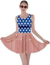 CowCow Womens American Flag National Day USA Stars and Stripes Party Sleeveless Dress, XS-5XL