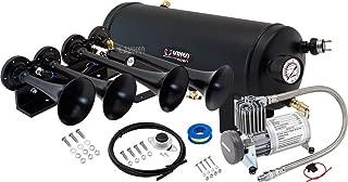 Vixen Horns Train Horn Kit for Trucks/Car/Semi. Complete Onboard System- 150psi Air Compressor, 1.5 Gallon Tank, 4 Trumpets. Super Loud dB. Fits Vehicles Like Pickup/Jeep/RV/SUV 12v VXO8815/4124B