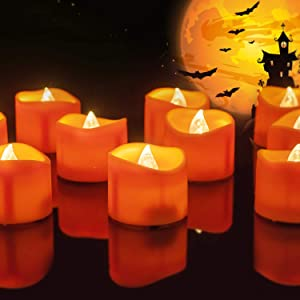 Homemory 24 Pack Orange Tea Light Candles, Battery Operated LED Tealights, Small Pumpkins Lights, Flameless Votives, Electric Fake Tea Candles Realistic for Halloween, Pumpkin Lanterns, Outdoors