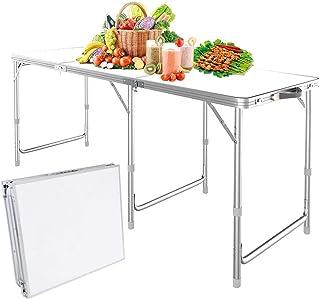 Nestling®1.8M 6 ft Garten im Freien Aluminium tragbare Klapp Camping Picknick Party Feld Küche BBQ Tisch Extra Stärke Portable Indoor Outdoor- Weiß