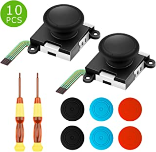 Wattne Joy Con Joystick Replacement- Switch Joystick Work For L/R Joy Con Nintendo Controller-2 PACk 3D Analog ThumbStick Repair Tool kit Bundle with Screwdriver + Six Thumbstick Caps