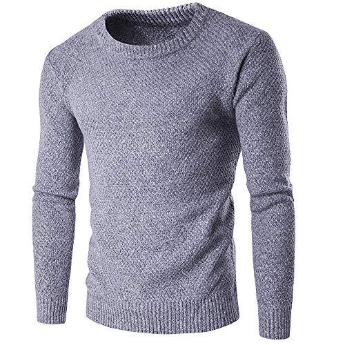 Herren Strickpullover Feinstrick Pullover Lange Ärmel Slim-Fit Einfarbig Rundhals Beiläufig Winter Gemütlich Einfachheit All-Match top L