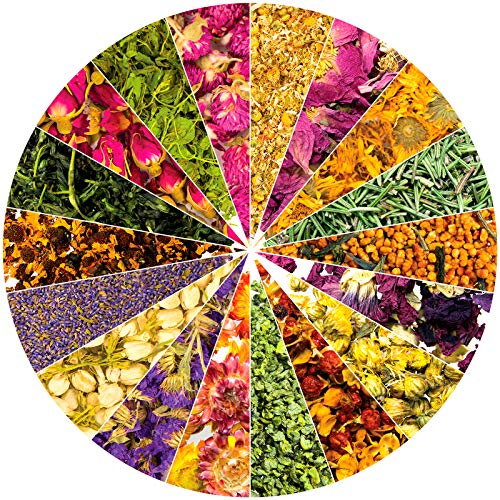 Dried Herbs and Flowers for Witchcraft Spells - Pack of 18 Variety Bulk Real Dry Flower Bags - Great for DIY Candle Making Kit Soap Essential Oil Resin Lip Gloss Includes Lavender Rose Petals Jasmine