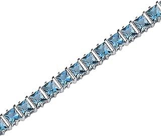 13.25 Carats London Blue Topaz Bracelet Sterling Silver Rhodium Nickel Finish Princess Cut