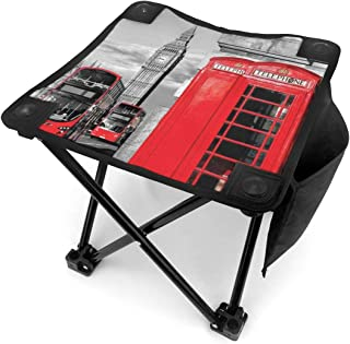 Folding Camping Stool Portable Outdoor Mini Chair Small Seat,London Telephone Booth In The Street Traditional Local Cultural Icon England UK Retro Theme,Barbeque Stool for Fishing BBQ Hiking Gardening