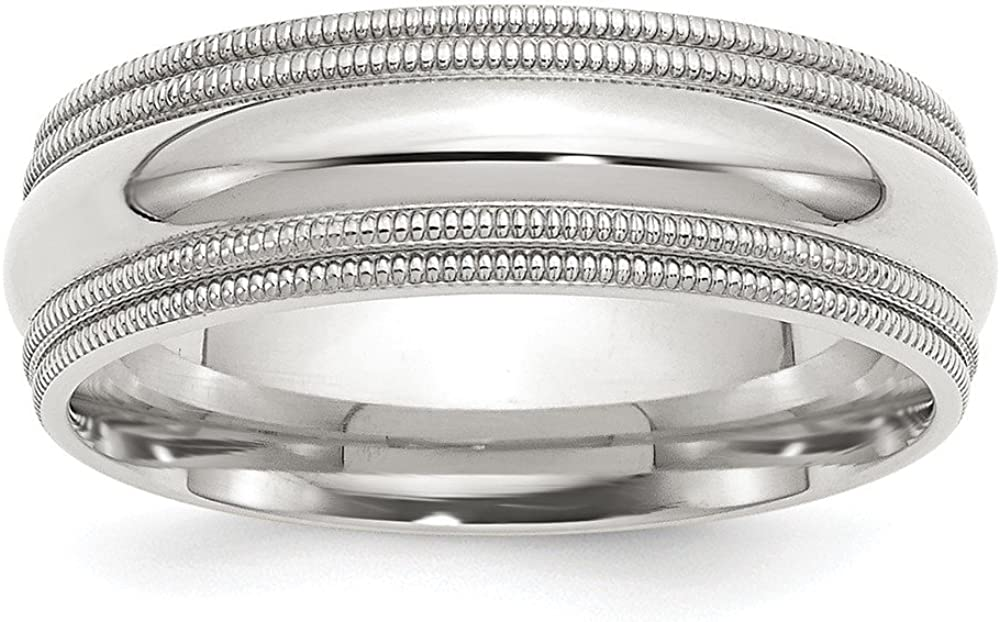 Solid 925 Sterling Max 86% OFF Silver 7mm Max 58% OFF Comfort Double Milgrain Weddin Fit