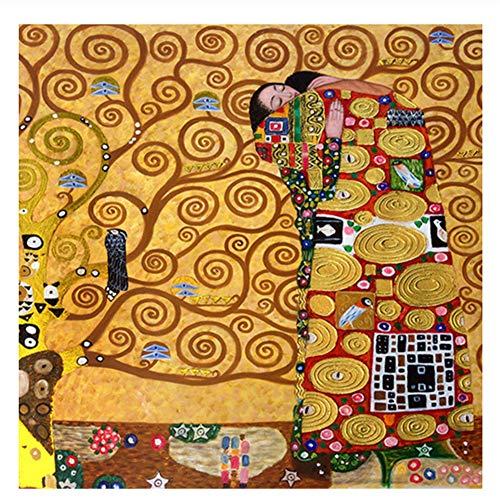 Suuyar Gustav Klimt Die Erfüllung Reproduktion Ölgemälde Auf Leinwand Poster Und Drucke Wandbild Für Wohnzimmer -28X28 Zoll Ohne Rahmen