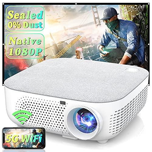 """WISELAZER Proiettore WiFi, 7500 Lumen Proiettore Full HD Nativo 1920x1080P, Supporto 4K Schermo 300"""" per Home Cinema Theater, 5G Wireless Videoproiettore Compatibile con Smartphone,TV Box, PC"""