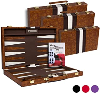 """Get The Games Out Top Backgammon Set - Small 11"""" Travel Size Classic Board Game Case - Best Strategy & Tip Guide (Brown, S..."""