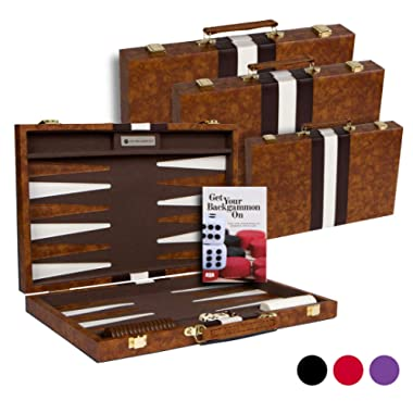 Get The Games Out Top Backgammon Set - Classic Board Game Case - Best Strategy & Tip Guide - Available in Small, Medium and Large Sizes (Brown, Medium)