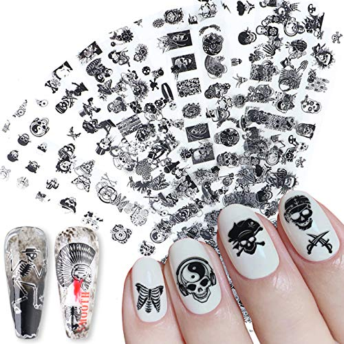 Black Sull Nail Art Foils Cool Glue Foils Transfer Nail Art Supplies Crossbones Nail Art Sticker Decals for Women Kids Nail Art Charms Accessories Easter Halloween Nail Manicure Tips(10 Pcs)