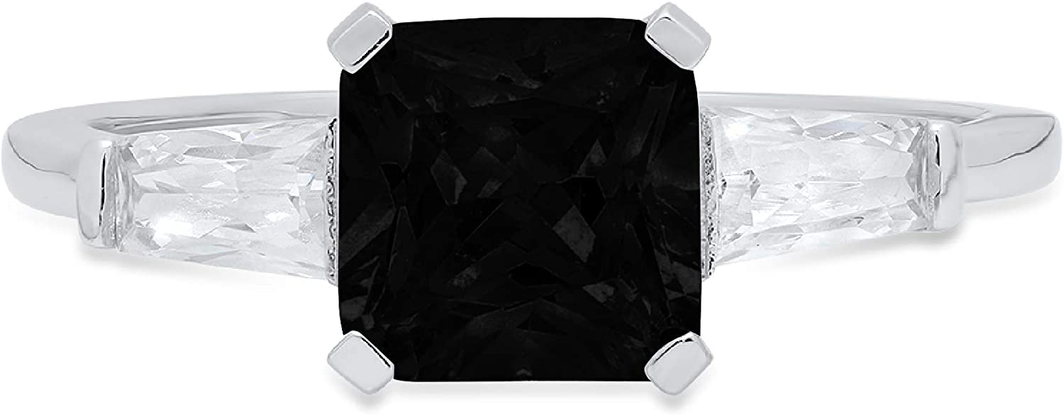 1.62ct Square Emerald Baguette cut 3 stone Solitaire Accent Flawless Natural Black Onyx Gemstone Ideal VVS1 Engagement Promise Anniversary Bridal Wedding Designer Ring 14k White Gold