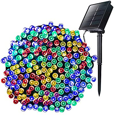 Outdoor Solar Christmas String Lights with 8 Lighting Modes, 72 Feet 200led Waterproof Solar Powered Lights for Indoor Outside Xmas Patio Garden Yard Wedding Party Tent Tree Decor, Multicolor, 1 Pack