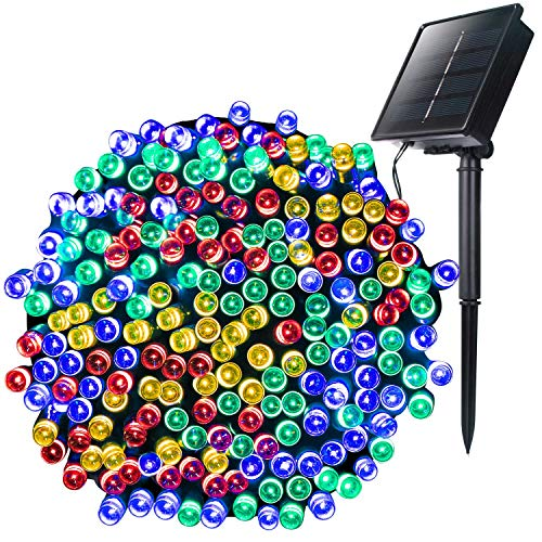 Outdoor Solar String Lights with 8 Lighting Modes, 72 Feet 200Led Waterproof Solar Powered Lights for Indoor Outside Xmas Patio Garden Yard Wedding Party Tent Tree Decor, Multicolor, 1 Pack