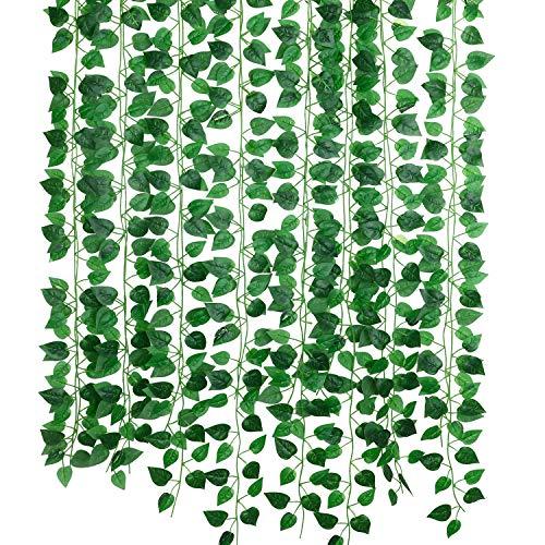 Hawesome 12 Stücke Kunstliche Efeu Hängend Girlande Efeugirlande Kunstpflanze Wanddekoration Hochzeit Deko Büro Küche Garten Party