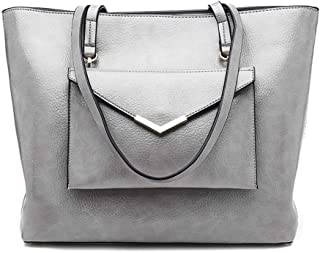 Fashion Women's New European and American Style Solid Color PU (Polyurethane) Leather Zipper Large Capacity Shoulder Bag Women's Handbag (Color : Gray)