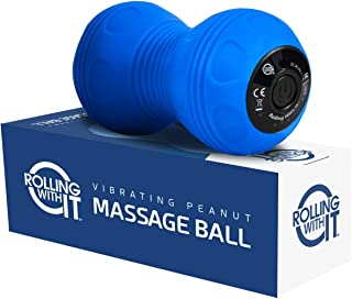 Professional Vibrating Peanut Massage Ball - Deep Tissue Trigger Point Therapy, Myofascial Release - Handheld, Cordless - 4 Intensity Levels - Dual Lacrosse Ball Vibration Massager - Blue