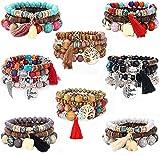 YADOCA 8 Pcs Bohemian Wood Beaded Bracelets Set for Women Boho Multilayer Tassel Strand Elephant Charm Bracelets Stretch