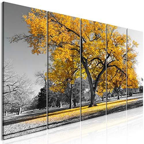 murando Quadro Albero 200x80 cm 5 pezzi Stampa su tela in TNT XXL Immagini moderni Murale Fotografia Grafica Decorazione da parete Alberi Natura nero bianco giallo c-B-0446-b-o