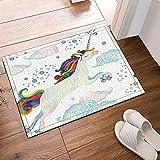Cuento de Hadas de Acuarela con Unicornio Caballo Volador Alfombra de baño Antideslizante para Interiores y Exteriores Felpudo para niños 80x50cm Accesorios de baño