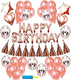rose gold Balloon 48pcs/Set Party Supplies Banner Paper Garland For Happy Birthday Party Decoration Kids Baby Party Supplies Air Wedding Decoration Metallic Balloons