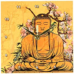 3dRose dc_116366_1 Buddha Statue with Lovely Pink Japanese Sakura Blossom Flowers Asian Inspired Gifts-Desk Clock, 6 by 6-Inch