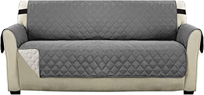"Water Repellent Sofa Slipcover Couch Cover for Pets | Couch Protector Sofa Cover 3 Seater Furniture Protector with Non Slip Strap (Seat Width: 66"" Large Sofa, Gray/Beige)"