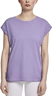 108df0e1ae072 Urban Classics Damen T-Shirt Extended Shoulder Basic Tee mit Turnup-Ärmeln