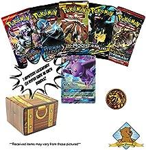 Pokemon Mystery Treasure Box Trading Card Bundle - 5 Random Pokemon Booster Packs - 1 Coin - 1 GX in Every Box! Includes Golden Groundhog Treasure Chest Storage Box!