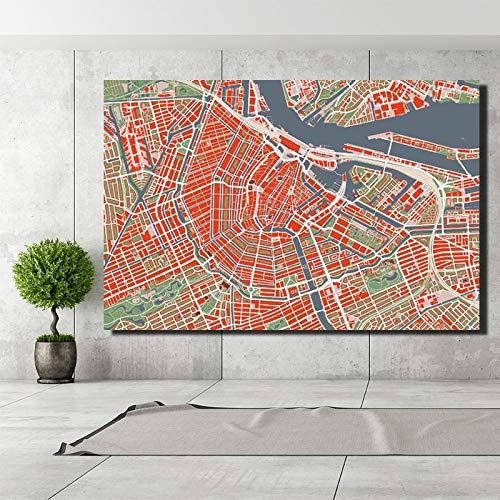 baodanla Geen frame HD print luchtfoto van Amsterdam, Nederland - frameloze kaart poster van de woonkamer muur gemonteerde woondecoratie foto's