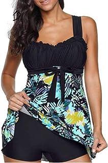 Womens Plus Size Swimsuits Floral Print Quickly Dry Beach Swimwear Tankinis Bikini Sets