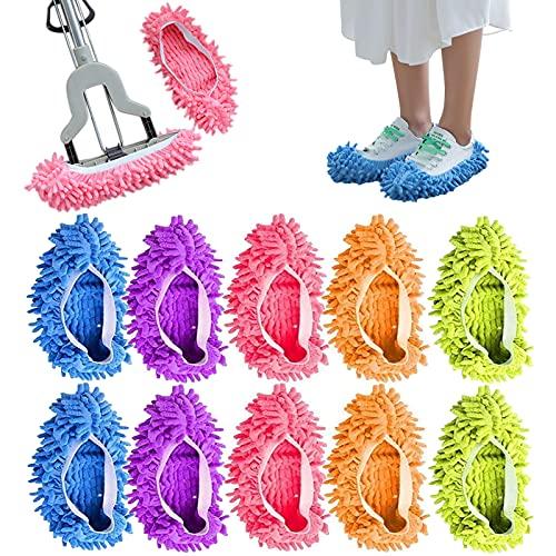(5 pares) Lavable Mopa Antipolvo Zapatillas Cubiertas de Microfibra Fregona para Zapatosde Limpieza de Pisos para Baño, Oficina,...