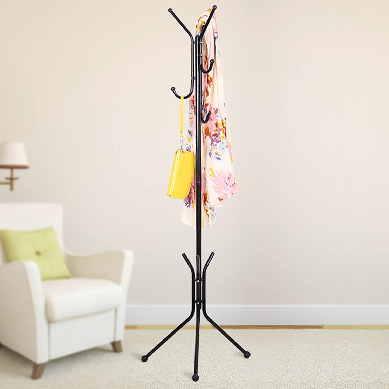 LFF- Wrought Iron Metal Bedroom Hanger Living Room Floor Fashion Creative Hanger Floor-Standing Coat Rack Hat Rack (color   Black)
