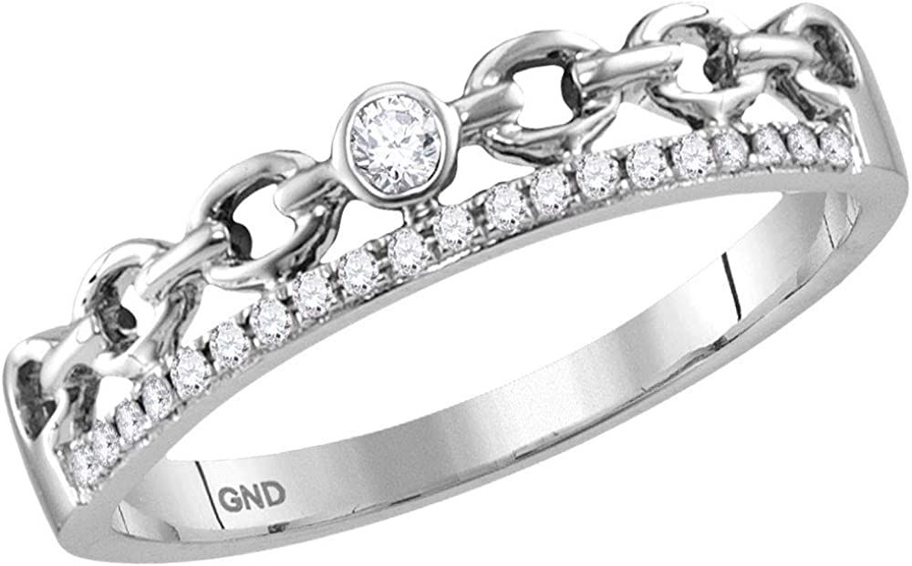 14kt White Gold NEW before selling Womens Round Max 64% OFF Diamond Stackable Band Ri Rolo Link