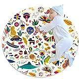 TIZORAX - Felpudos para interiores lavables, absorbentes y antideslizantes, diseño de símbolos tradicionales de México, Tejido de poliéster, Varios Colores, 100x100cm/39.4x39.4IN
