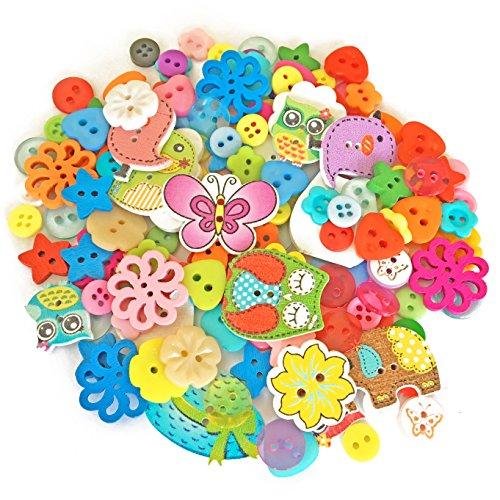 Lot de 150 boutons assortis en bois, acrylique et résine - Pour fabrication de carte