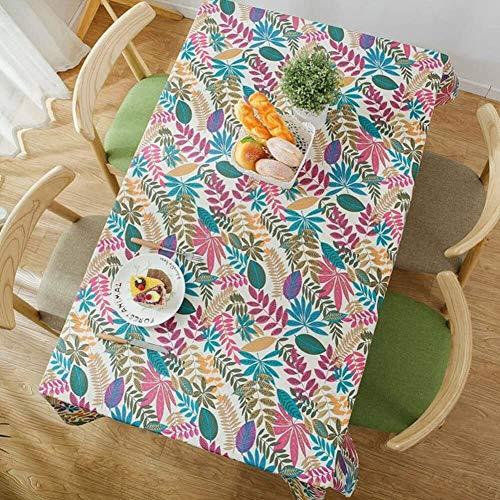 ccfgh Tischdecke farbige Blätter Tischdecken rechteckig Tischdecke Baumwolltischabdeckung Hitzebeständige Tischabdeckung für Innen- und Außenbereich (Color : White, Size : 130+#215;180cm)