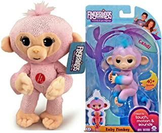 Creekside Deals Candi Interactive Baby Monkey + Pink Glitter 10.5 Inch Plush Stuffed Monkey