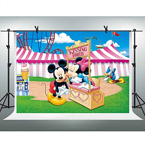 FHZON 10x7ft Cartoon for Mickey Minnie Mouse Backgrounds for Photography Kissing Booth Ice Cream Circus Tent Backdrop Children Girl Newborn Birthday Party Video Prop Room Mural GEFH034