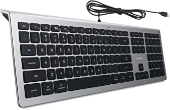 BFRIENDit Wired USB Mac Keyboard, Quiet LED Backlit Chocolate Keys, Durable Ultra-Slim Wired Computer Keyboard for PC, Windows 10/8 / 7 / Vista, Mac OS - Silver/Black