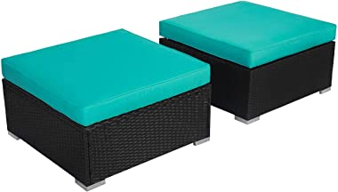 Kinsuite 2 Piece Patio Rattan Ottoman All Weather Outdoor Wicker Ottoman Seat with Cushion, Turquoise
