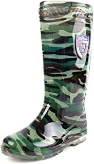 Mens High Rain Boots Waterproof Durable Sturdy Wellington Boots Casual Womens Wellies Easy Wipe Clean Wider Calf Camouflage Labor Insurance Rain Boots for Garden Fishing