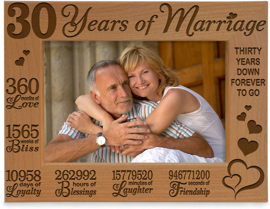 KATE Dedication Sale POSH 30 Years of Marriage Engraved Wood Picture Natural Fra