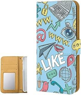 AQUOS ZETA SH-01H PU手帳型 ミラータイプ 【落書き:ブルー】 かわいい アクオス ゼータ スマホケース 携帯カバー [FFANY] social-190523m