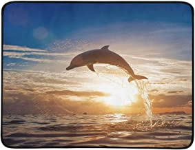 Jumping Dolphin Leaping from Shining Sunset Sea Wa Pattern Portable and Foldable Blanket Mat 60x78 Inch Handy Mat for Camping Picnic Beach Indoor Outdoor Travel