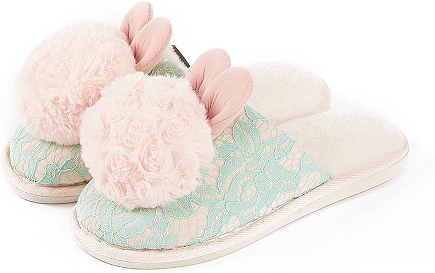 Female cotton slippers winter indoor thick warm home cute hairy shoes ( color   C , Size   EUR 37-38 )