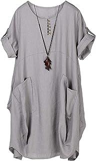 Lavnis Damen Leinen T-Shirt Tunika Kleid Rundhals Kurzarm Midi Kleid
