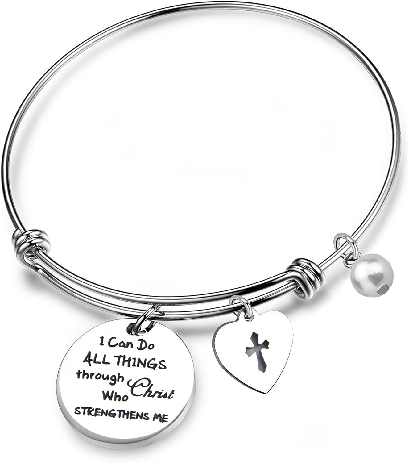 RQIER Philippians 4:13 Bracelet Strength Bible Verse Expandable Wire Bangle Christian Jewelry Religious Jewelry Inspirational Gift