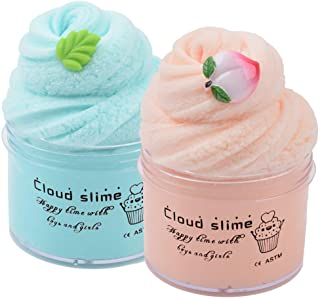 2 Pack Upgrade Mint Leaf Peach Cloud Slime Cotton Slime,Super Soft and Non-Sticky Slime Kit for Boys and Girls